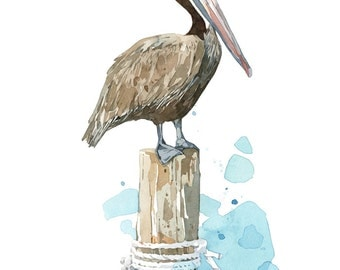 Pelican Watercolor Art Print, nautical bird painting, coastal decor
