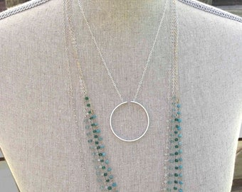 Modern Secret message Necklace Sterling Silver Circle Necklace I Will Hold You In My Heart Until I can Hold You In Heaven