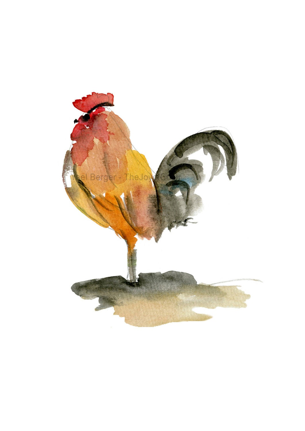 the rooster art print rooster watercolor print farm animals