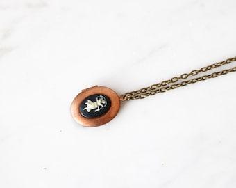 CLOSING SALE - Half Off - Virgo Vintage Cameo Locket Necklace