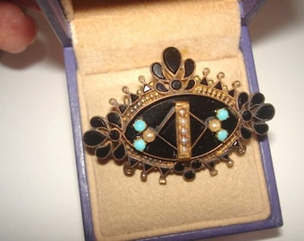 Victorian Vintage Jet  Black Turquoise Pearl Brooch Jewelry