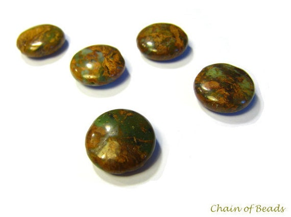 Copper Green Opal (African Opal), Round Coins, Smooth, Through Drilled - 15mm (RM055) - 2PCS
