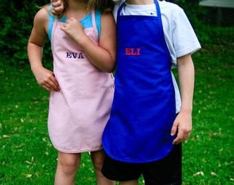 Embroidered Kids Apron Red Green Pink Blue Yellow Children Personalized  Chef Apron BBQ Apron