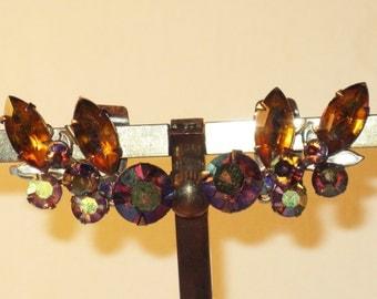 Vintage Amber and Red Aurora Borealis Rhinestone Clip Earrings (E-1-3)
