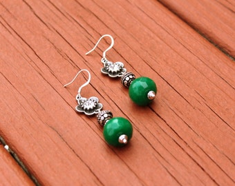 Dangle Earrings, Green Earrings, Gemstone Earrings, Jade Earrings, Antique Silver Earrings