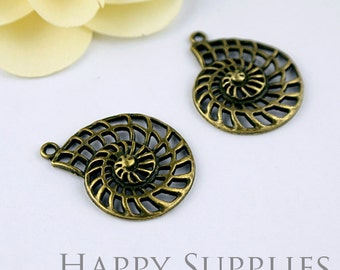 5Pcs High Quality Antiqued Bronze Conch Pendant / Charms  (12231)