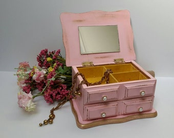 Pink and Gold JEWELRY BOX SHABBY Chic jewelry dresser