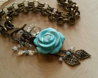 Frosted Howlite Rose Choker with Quartz Crystals / Amazonite / Moonstones