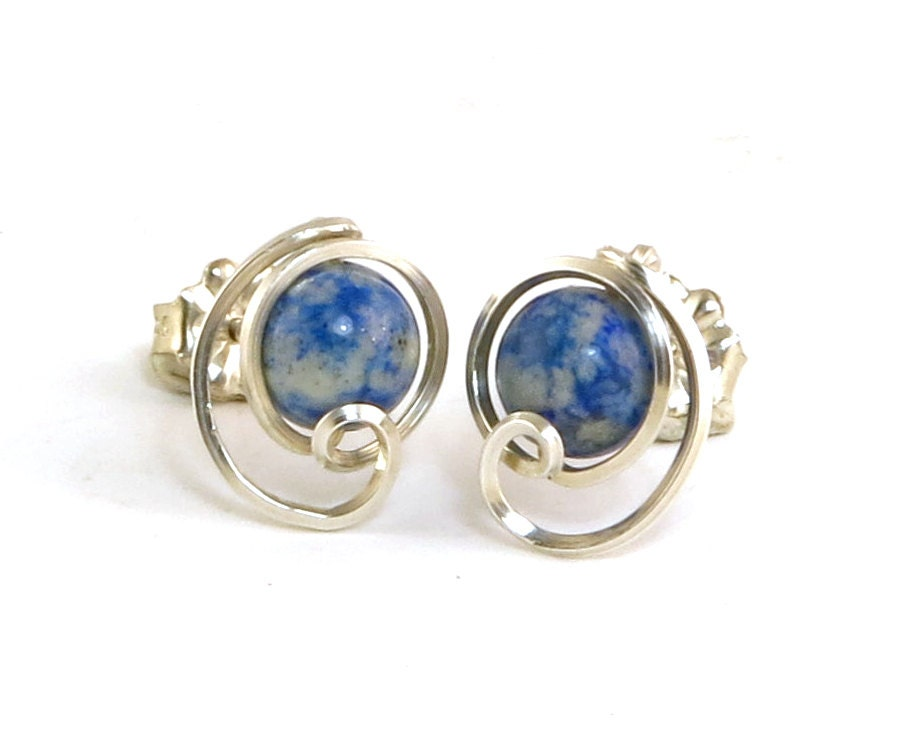 blue denim lapis stud earrings sterling silver small lapis