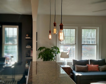 3 Pendant Custom Swag Chandelier Any Colors Edison Bulb Guard Modern lighting Industrial Hanging Rustic Ceiling Fixture