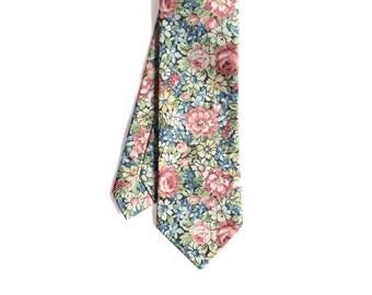 Fleur - Pink/ Blue Floral Men's Tie