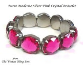 50s Pink Rhinestone Stretch Bracelet with Chaton Cut Crystals Prong Set in Silver Design - Vintage 50's Lucite Plastic Costume Jewelry