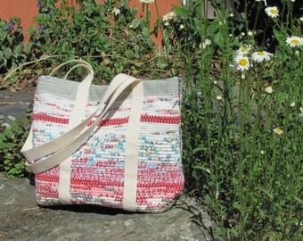 Beach Cottage Chic Boho Bag, Summer Fashion Boho Chic Purse, Small Tote Bag, Rustic Country Handbag, Red White Woven Recycled Rag Hand Bag