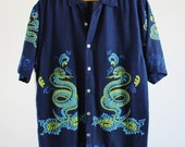 SALE - Vintage  Blue and Green Serpent Print Surf Shirt - Mens Size Small