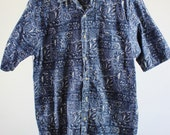 SALE - Vintage Blue Surf Shirt Short Sleeve  - Mens Size Medium