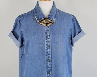 SALE - Vintage Womens Blue Summer Camp Button Down Shirt