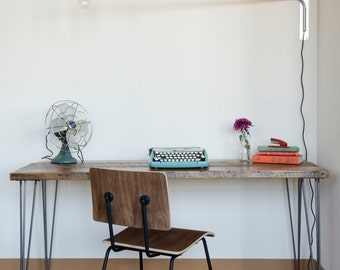 Modern wood desk with hairpin legs and reclaimed wood top in choice of sizes or finishes