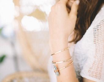Kiwi Jasper Aura Wand Cuff | Hammered Brass Mineral Point Bracelet | Pastel Green Stone