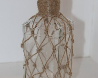 Whiskey Bottle Knotted Jute Clear Recycled