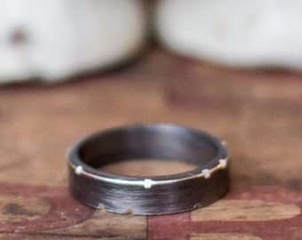 Gifts for Him Men's Silver Ring Oxidized Black Silver Ring Gift for boyfriend Husband Men's Personalized Ring- Unique Mens Ring - Under 100