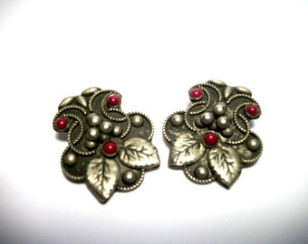 Old ITALY Silver & Red Coral Vintage Dress Clips Fine Antique Italian Jewelry LOVELY Gift ideas for her