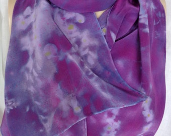silk scarf large long crepe Purple Wisteria luxury accessory unique hand painted wearable art