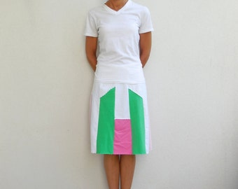 Womens T Shirt Skirt Womens Skirt Pink Green White T-Shirt Clothing Handmade Cotton Skirt Fresh Colors Skirt Summer Skirt ohzie