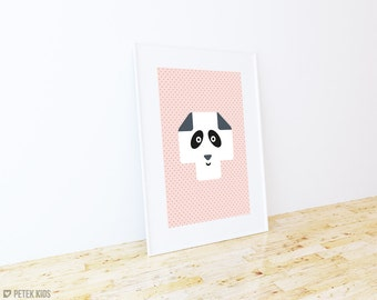 Minimalist Pink Pastel Nursery Poster / Kids Poster / Panda Bear Wall Art / Swiss Cross Poster / Nordic Print / Girls Room