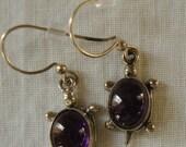 VINTAGE 925 Sterling Silver Turtle Amethyst Cabochon Earrings Hallmarked 925 Sterling Turtle Earrings Purple Turtle Earrings