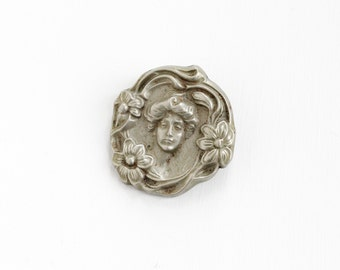 Sale - Antique Art Nouveau Cameo Brooch - Early 1900s Edwardian Repoussé Woman Flower Gibson Girl Jewelry Pin Statement Sterline