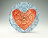 "12"" Serving Platter Retro Heart in Red Turquoise Aqua Blue Background and Black Spiral Hand Painted Dinnerware"
