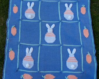 Knit Bunny  Blanket with Hand Crocheted & Knit  Details