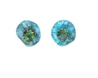 emerald green rhinestone stud earrings, turquoise petals, artisan crafted, hand painted, patina painted, unique earrings