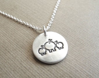 Small Mother and Twin Pig Necklace, Mom and Two Kids, New Mom Jewelry, Twin Jewelry, Fine Silver, Sterling Silver Chain, Made To Order