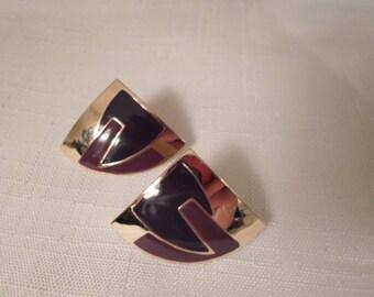 LAUREL BURCH STYLE/ Fan Pierced Earrings / Designer L. Bott / Purple Enamel / Gold / Signed / Asymmetrical / Trendy / Chic / Hip Acessories