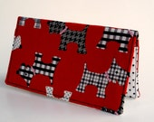 Checkbook Cover, Scottie Dogs, Checkbook Holder, Money, Wallet, Fabric, Gift under 15