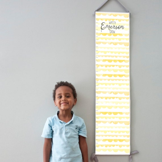 Custom/ Personalized Watch Me Grow canvas growth chart with yellow watercolor scallops