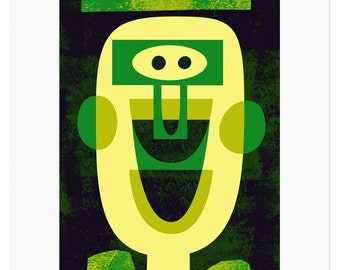 Green Guy - Limited edition fine art print by Lo Cole