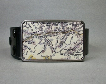 Belt Buckle Great Smoky Mountains National Park Vintage Map Tennessee