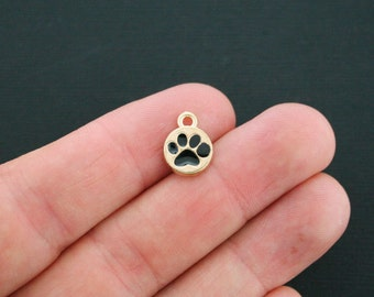 5 Paw Print Charms Antique Gold Tone and Black Enamel Protect 2 Sided - GC162