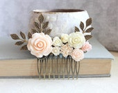 Light Peach Floral Hair Comb Bridesmaid Gift Bridal Hair Comb Cream Rose Comb Vintage Inspired Country Shabby Barn Wedding Hair Accessories
