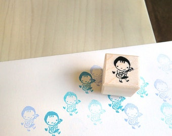 Cute Girl with Ukulele Rubber Stamp - Cute Girl Stamp
