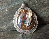 Koroit Boulder Opal Pendant, Handmade, Flashy Opal, Sterling Silver, Feather Pendant, Silversmith, Handcrafted, Made In New Hampshire
