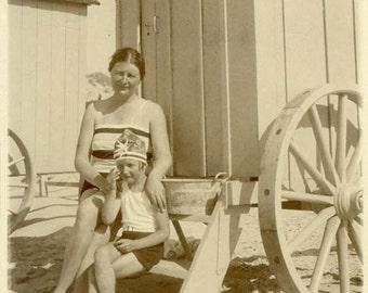 "Vintage Photo ""Beach Time With Mom"" Bathing Suit Snapshot Photo Old Antique Photo Black & White Photograph Found Photo Paper Ephemera - 114"