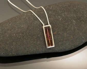 Modern Tourmaline Necklace in Peach and Rose Hues