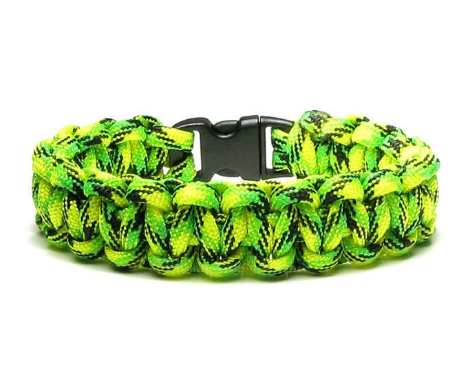 Paracord Bracelet Dragonfly Neon Green Yellow Black Hunting Survival Accessory Outdoorsmen Military Veteran Boy Scouts Woven Cord Jewelry
