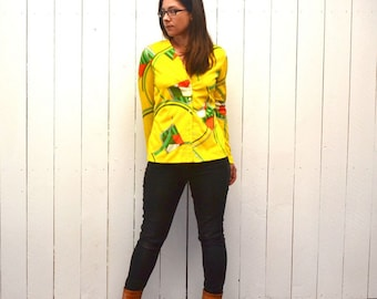 Psychedelic Cardigan Top 1960s Vintage Sunny Yellow Geometric Print Saks Fifth Avenue Jacket Blouse Small