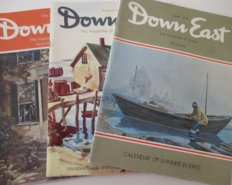 Three Vintage Downeast Magazines The Magazine of Maine Vacation Guide Calendar Summer Events Industry Advertising YourFineHouse