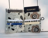 Passport Wallet - Abstract Floral - 2 Passports, 4 Cards (Grey, Black, White)