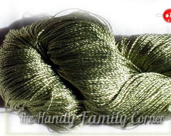 "Green Viscose Silk Yarn: Artificial Silk, Shining, Superfine Lace weight bright crochet yarn. Yarn ""ajur"". Col. 243. Summer yarn. Light."